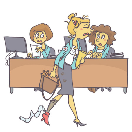 Tired and messy young mother coming to work while coworkers look at her with compassion, colorful vector cartoon on white background Vettoriali