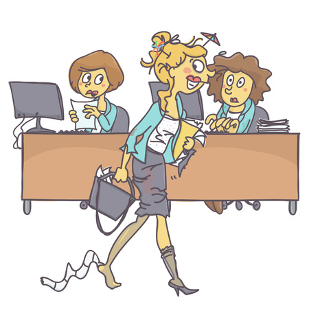 Messy and drunk woman coming to office while coworkers look at her astonished, colorful vector cartoon on white background