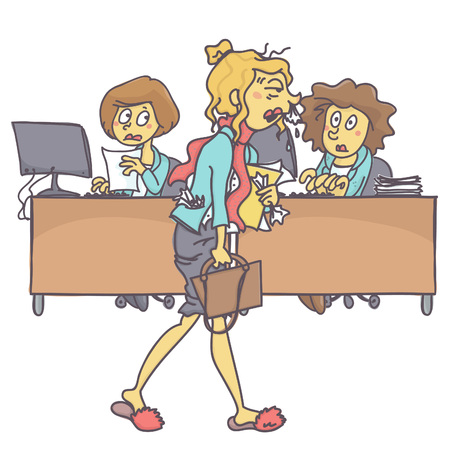 Messy and sick woman coming to office while coworkers look at her astonished, colorful vector cartoon on white background Vectores