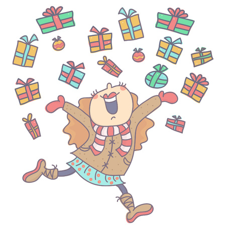 Cute little girl in winter outfit running and jumping while gifts fall around her, colorful vector illustration isolated on white background.
