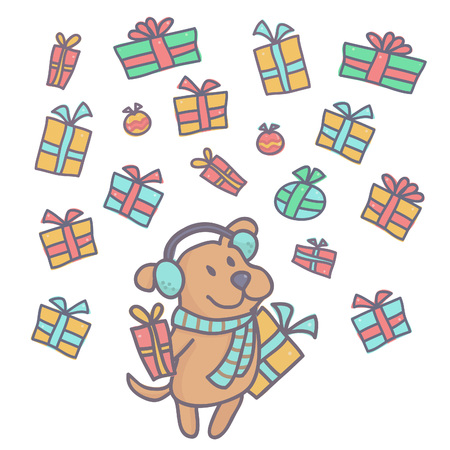 Cute little dog in winter outfit standing while colorful gift boxes falling around him, vector illustration isolated on white background