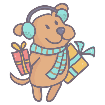 Little brown dog in winter outfit holding colorful gift boxes, vector cartoon isolated on white background. Illustration