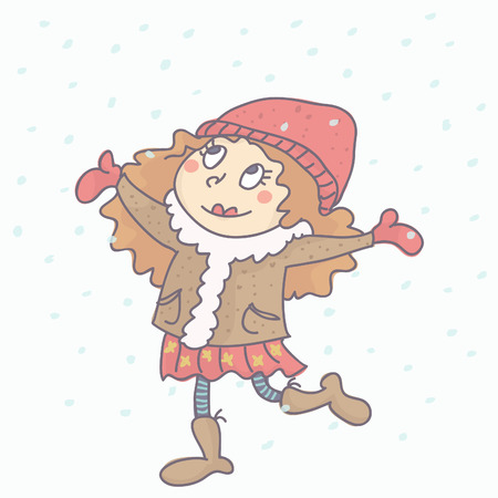Sweet little girl in winter outfit with snow falling around her, colorful vector illustration