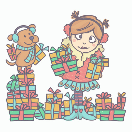 Colorful vector illustration with girl and little dog holding gift boxes, isolated on white background Vettoriali