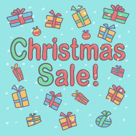 Colorful vector drawing with Christmas Sale inscription and gift boxes falling around