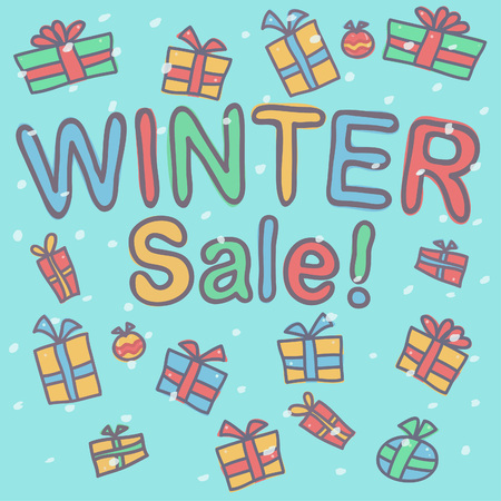 Winter Sale inscription with gift boxes and snow falling around, colorful vector drawing