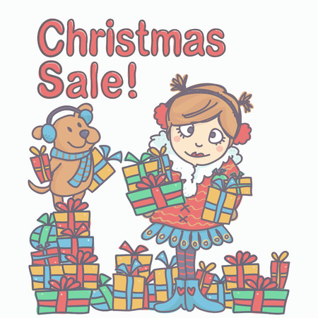 Colorful vector illustration with girl and little dog holding gift boxes, Christmas Sale inscription above them. Çizim