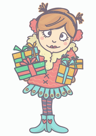 Cute adorable girl in winter outfit holding gift boxes, colorful vector cartoon isolated on white background.