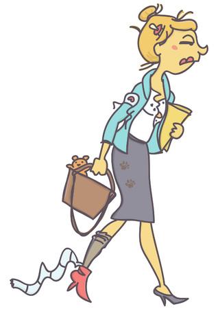 Lustige Vektorkarikatur der unordentlichen und müden jungen Geschäftsfrau oder des Sekretärs, lokalisiert auf weißem Hintergrund