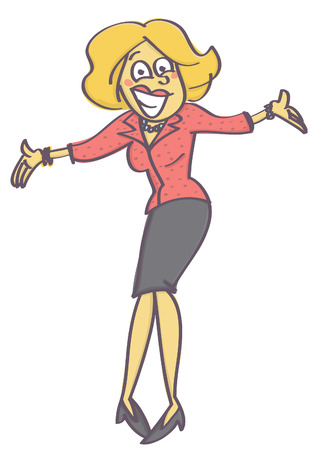 Woman in welcoming or offering pose with insincere and forced smile on her face, isolated vector cartoon with white background Vectores