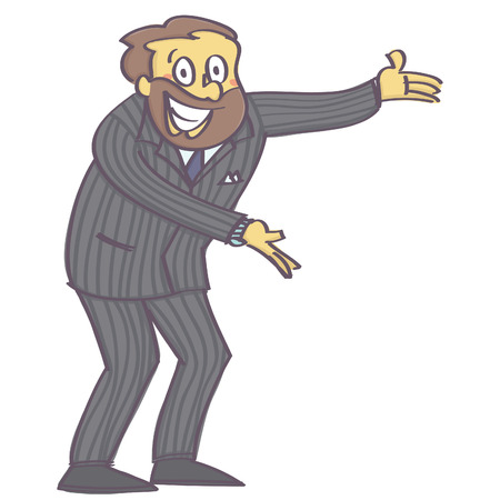Man in welcoming or offering pose with insincere and forced smile on his face, isolated vector cartoon with white background