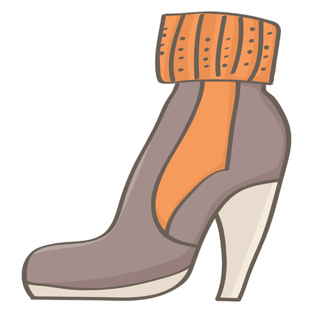 Cool brown high heel boot for women, isolated vector drawing on white background