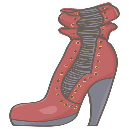 Fashionable female high heel boot in red color, isolated vector drawing on white background Vettoriali