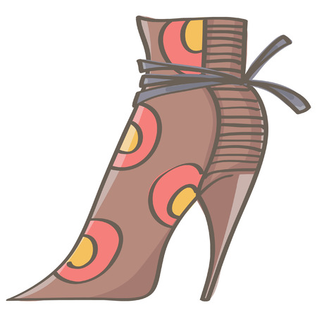 Stylish female brown stiletto boot with colorful decorations, isolated vector drawing on white background