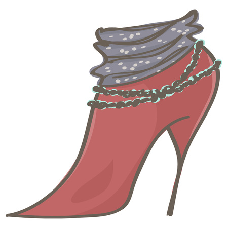 Elegant stiletto red boot with stylish decoration, isolated vector drawing on white background Ilustração