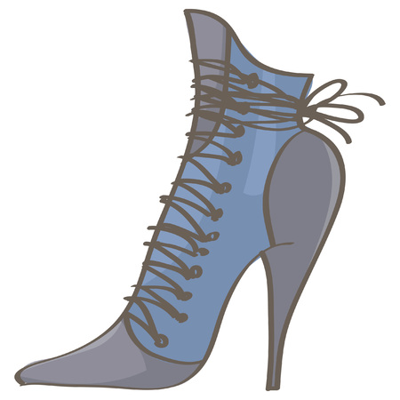 Fashionable blue stiletto boot for women, isolated vector drawing on white background