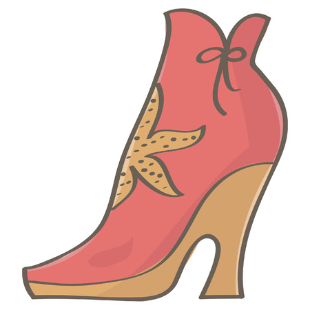 Cool and stylish platform pink boot with decoration, isolated vector cartoon on white background Illustration