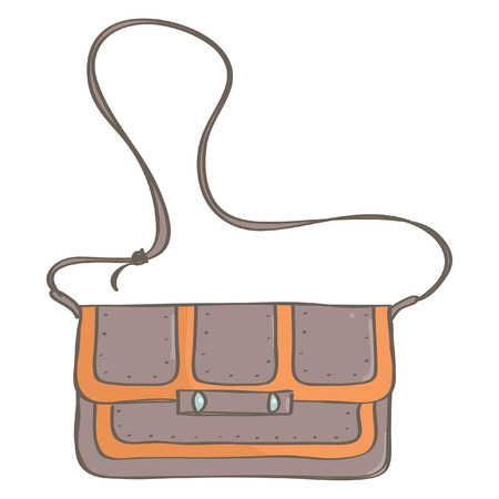 Stylish brown and orange city bag, isolated vector drawing on white background