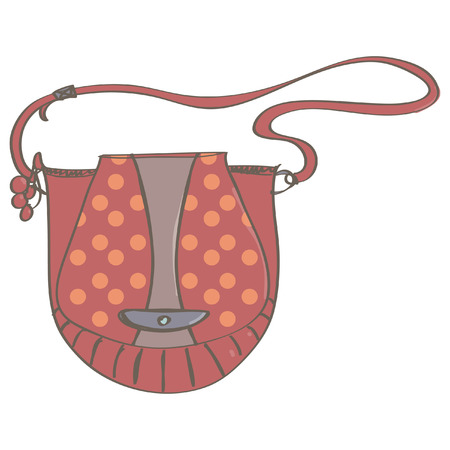 Cute red everyday bag with orange dots for women.