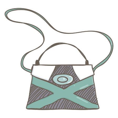 Stylish lady handbag in black and green color, isolated vector drawing on white background  イラスト・ベクター素材