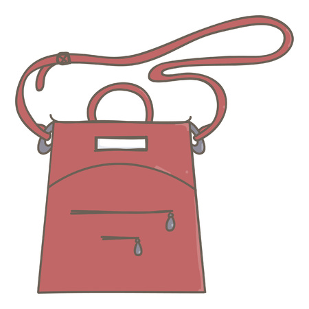 Fashionable lady handbag in dark red color, isolated vector drawing on white background Çizim