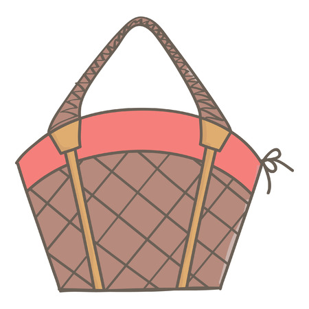 Cute female basket bag in brown and pink color, isolated vector cartoon on white background