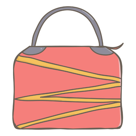 Stylish big female business bag in pink color, isolated vector cartoon on white background
