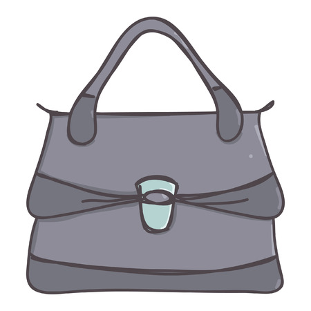 Stylish business briefcase bag for ladies, isolated vector cartoon on white background