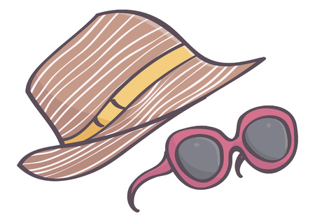 Stylish brown female hat and purple sunglasses, vector drawing isolated on white background