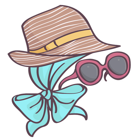 Fashionable accessories vector drawing set with cute brown hat, blue head scarf and big purple sunglasses all isolated on white background