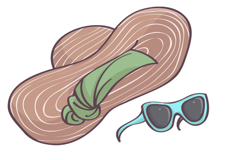 Isolated vector drawing with big brown hat on green head scarf and blue sunglasses, white background