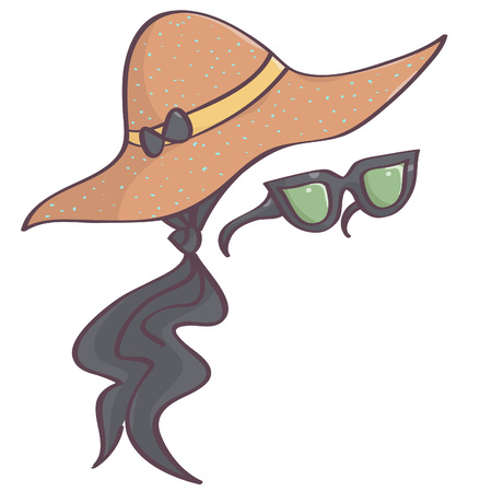 Isolated vector drawing of stylish set with black head scarf, brown dotted hat and retro sunglasses
