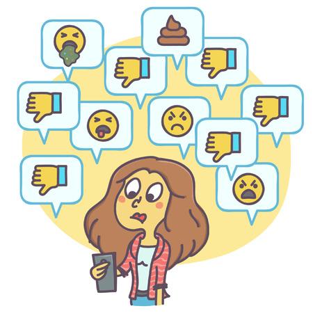 ソーシャルネットワーク上の嫌いや否定的なコメントを見ている女性の漫画のイラスト、面白いベクトル描画