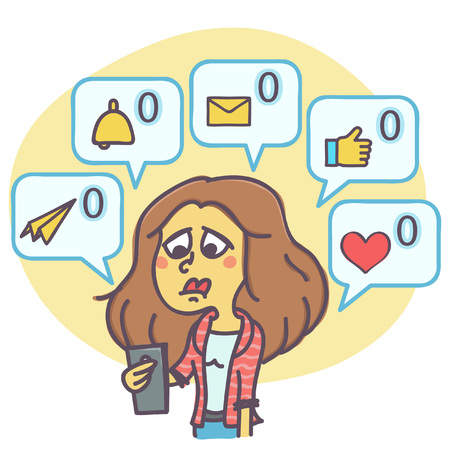 Funny cartoon of sad woman not getting any comments and messages on mail or social network profile, vector illustration Illustration