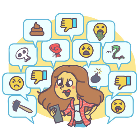 Angry woman because of rude and hateful comments on social network, funny vector drawing
