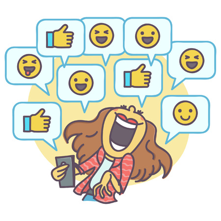 Vector cartoon of woman laughing at funny comments on social network