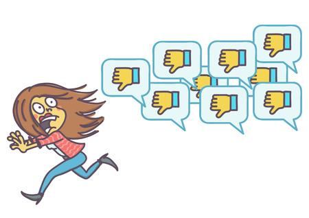 Mulher assustada, fugindo de ícones de comentários negativos, desenho vetorial do conceito de desaprovação de rede social