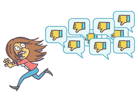 Scared woman running away from negative comments icons, vector cartoon of social network disapproval concept