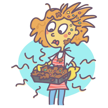 Funny vector cartoon of stressed woman holding bad baked and messy cake. Vectores