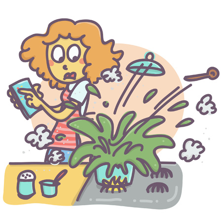 Funny vector cartoon of woman in kitchen and exploding pot Vectores