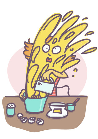 Confused woman getting cake mixture all over her self while using blender, funny vector cartoon