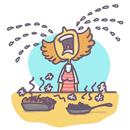 Woman crying big tears over burned food, funny vector cartoon