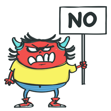 Funny red monster with horns holding placard with No inscription, isolated vector cartoon