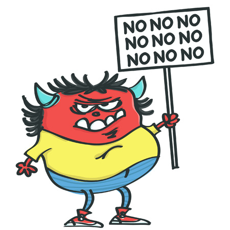 Funny grumpy monster holding placard and protesting, isolated vector cartoon Illustration