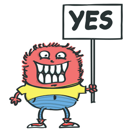 Fluffy pink monster holding placard with Yes inscription, isolated vector cartoon Vectores