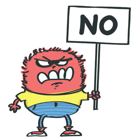 Fluffy and funny pink monster holding a protest placard, isolated vector cartoon Vectores