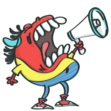 Funny red monster with horns shouting angry in megaphone, isolated vector cartoon