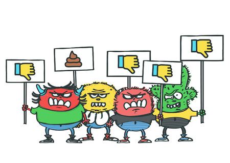 Group of four funny monsters with dislike protest placards, isolated vector cartoon of internet haters concept