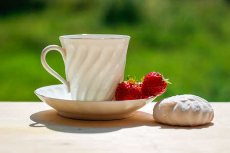 Elegant white porcelain Cup with a Saucer and Strawberries on a wooden Terrace against the background of Nature. Russian Imperial Porcelain. Morning concept. Beverage, breakfast. Foto de archivo