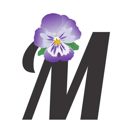The letter M with a single purple pansy flower. Bud and leaves isolated on white. Floral alphabet. Vector illustration, flat style and gradients.